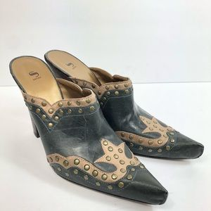 Cole Haan Nike Air Studded Leather Western Mules 9